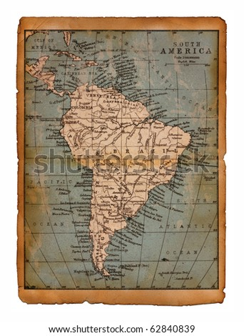 38 Map of South America edit in a travel guide of 1888 - stock photo