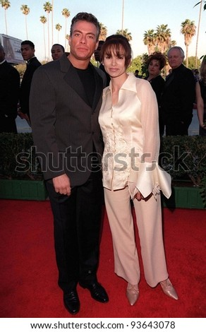10MAR98:  Actor JEAN CLAUDE VAN DAMME & first wife GLADYS at the Blockbuster Entertainment Awards in Hollywood.
