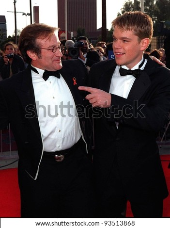 08MAR98:  Actor ROBIN WILLIAMS & MATT DAMON at the Screen Actors Guild Awards in Los Angeles.