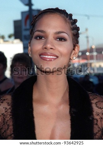 10MAR98:  Actress HALLE BERRY at the Blockbuster Entertainment Awards in Hollywood. - stock photo