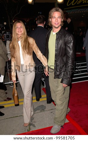 "14MAR2000:  Actress JENNIFER ANISTON & actor boyfriend BRAD PITT at the world premiere, in Los Angeles, of ""Erin Brockovich"" which stars Julia Roberts & Albert Finney.  Paul Smith / Featureflash - stock photo"