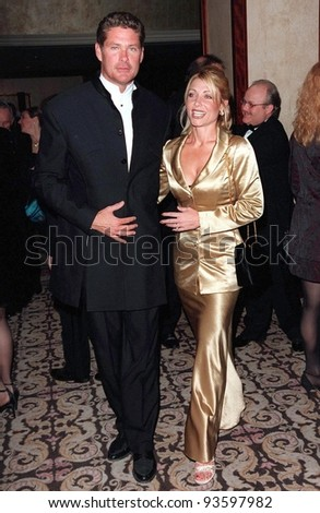 "07MAR98:  ""Baywatch"" star DAVID HASSELHOFF & wife PAMELA at the Directors Guild of America Awards in Beverly Hills."