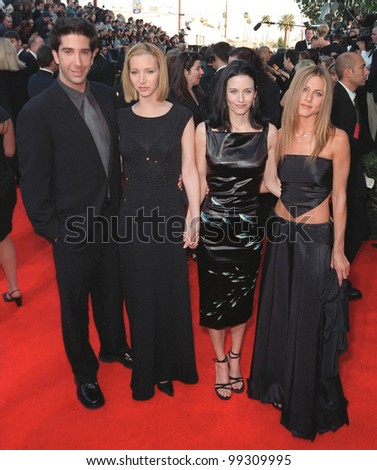 "07MAR99: ""Friends"" stars DAVID SCHWIMMER, LISA KUDROW (left) COURTENEY COX & JENNIFER ANISTON at the Screen Actors Guild Awards.  Paul Smith / Featureflash - stock photo"