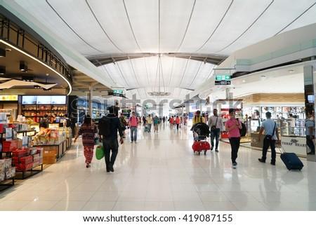 12 Mar 2016: King Power is a duty free shop in Suvarnabhumi Airport, Bangkok, Thailand - stock photo