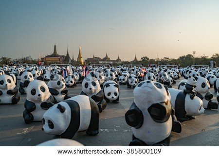"""04 MAR 2016 : """"1600 Pandas World Tour Coming to Thailand"""", collaborated with the WWF in order to preserve the Panda arpund the world, Bangkok, Thailand - stock photo"""