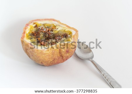 maraca and passiflora and ripe and juicy   - stock photo