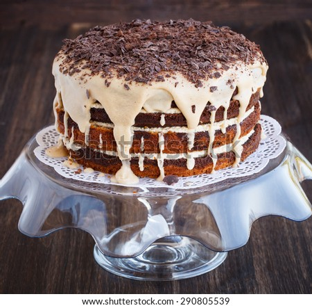 Marble cake with coffee beans, sprinkled with chocolate shavings.selective focus - stock photo