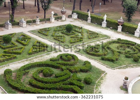 Marble statues in Villa Borghese, public park in Rome. Italy  Italy - stock photo