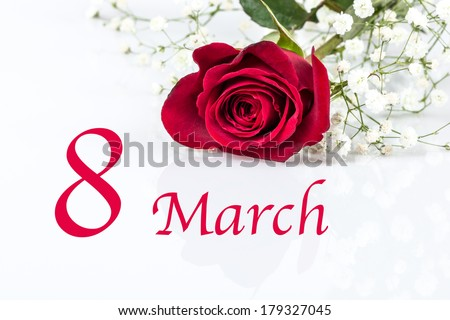 8 march card for women's day - stock photo