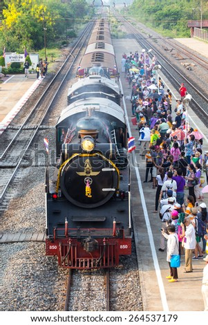 28 March, 2015 Pacific steam locomotive, Type 800, State Railway of Thailand No. 824.  steam train ran to celebrate the anniversary Date of establishment consider undertaking in the train. - stock photo