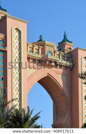 20 March 2016. Photography of  Atlantis pink hotel from Dubai. United Arab Emirates. - stock photo