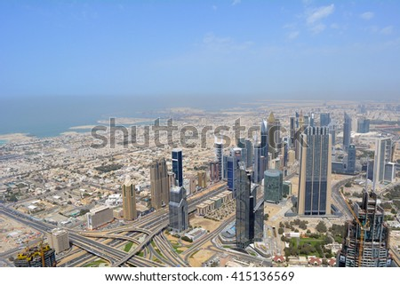 23 March 2016. Photography of many tall buildings, skyscrapers seen from above from Dubai. United Arab Emirates. - stock photo