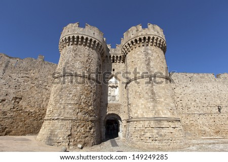 Marine Gate (also Sea Gate) at the old city of Rhodes, Greece. - stock photo