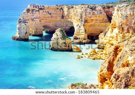 Marinha Beach,  located on the Atlantic coast in Portugal,Algarve.  - stock photo