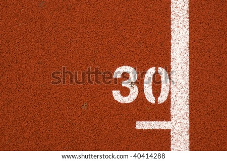 """30"" mark on running track"