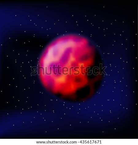 Mars Red Planet Mars black space. Kratory and surface of Mars. - stock photo