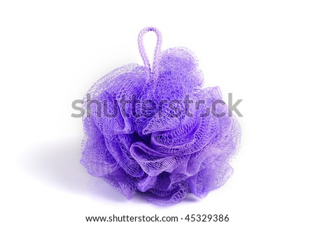 Massage violet bath sponge isolated on white background. With  shadow. - stock photo