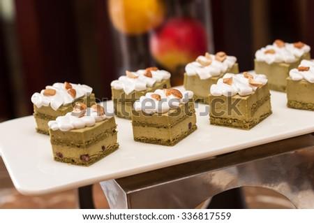 Matcha Green tea cake, tea and cake - stock photo