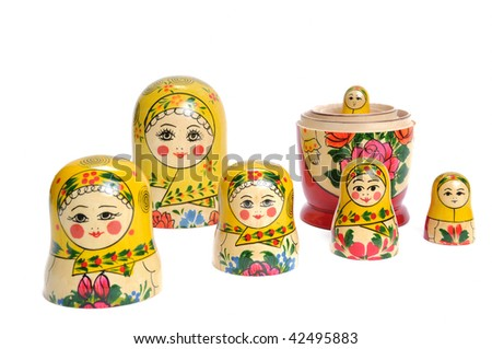 matreshka doll isolated on white Matreshkas - stock photo