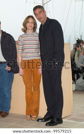 13MAY2000:  Actor GEORGE CLOONEY & actress HOLLY HUNTER at the Cannes Film Festival to promote their new movie O Brother Where Art Thou.  Paul Smith / Featureflash - stock photo