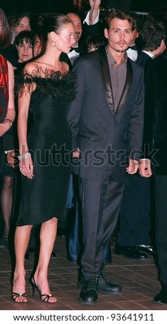 """15MAY98:  Actor JOHNNY DEPP & supermodel girlfriend KATE MOSS at Cannes Film Festival to promote his movie, """"Fear and Loathing in Las Vegas."""" - stock photo"""