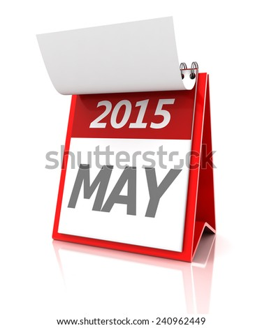 2015 May calendar, 3d render - stock photo