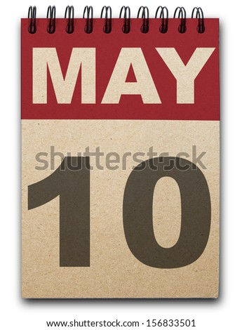 10 May calendar on recycle paper - stock photo
