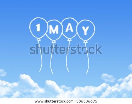 1 may in balloon cloud shape - stock photo