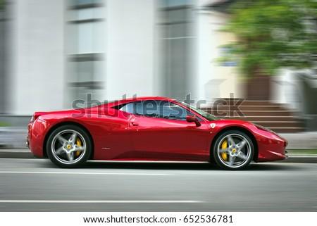 13 May 2017, Kiev   Ukraine. Editorial Photo. Ferrari 458 Italia At High