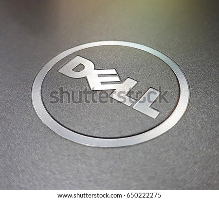 30 May 2017 : Pathum Thani ,Thailand : Dell logo on notebooks,Dell workstations machines come configured as notebooks for diverse industries ranging from audio and video production.