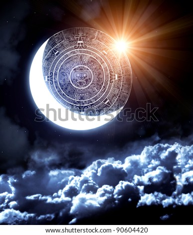 2012. Maya prophecy. Vertical background with calendar and space cloud - stock photo
