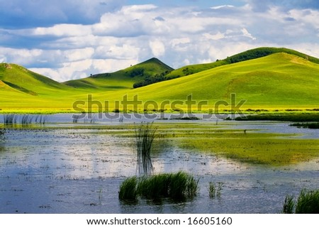 Meadow,the blue sky and white clouds,lake