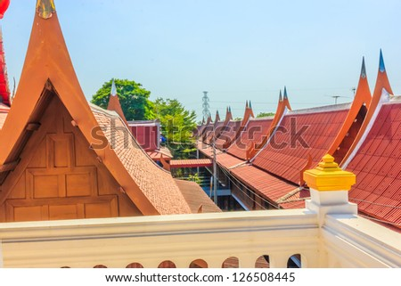 Measurement roof at the Wat Nang Cham temple in Arng Torng province ,Thailand.