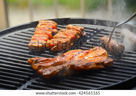 meat on barbecue grill cooked for summer family dinner