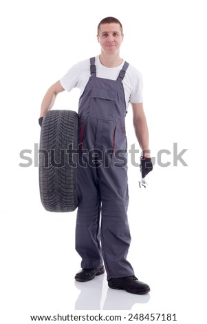 mechanic with a car wheel - stock photo