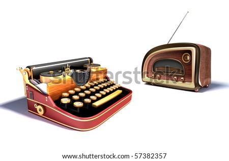 mechanical typewriter and radio. steam punk style. - stock photo