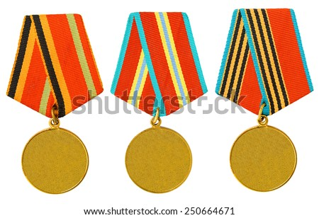 3 medals on a white background - stock photo