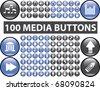 100 media buttons. raster version - stock vector