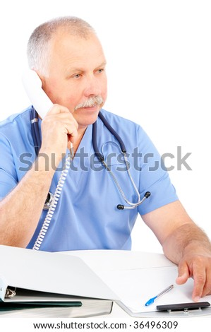 medical doctor calling by phone. Over white background - stock photo