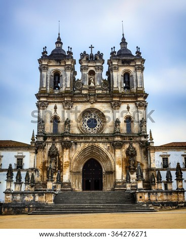Medieval Catholic Monastery in Alcobaca, Portugal, Unesco site - stock photo