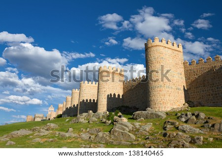 Medieval city wall built in the Romanesque style, Avila (City of Stones and Saints), Spain - stock photo