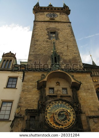 Medieval tower with famous astronomical clock. Prague, capital of Czech Republic.