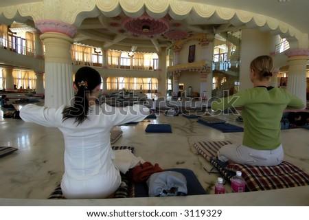 Meditation . Vishalakshi Mantapa,Bangalore,India. - stock photo