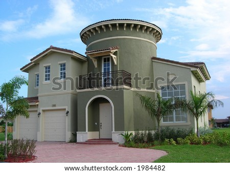 Mediterranean Style House with a Spiral Staircase in Miami, Florida - stock photo