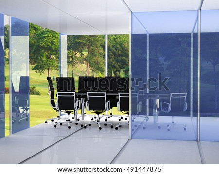 meeting place or conference room with chairs, tables and windows with a view of a field  yellow flowers.