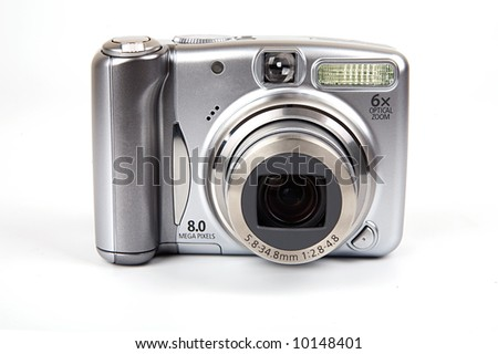 8 mega-pixel digital camera on isolated white background.