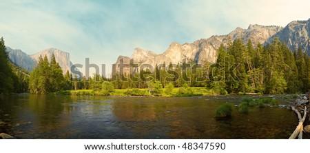 45 megapixel panorama of Merced River meadows, Yosemite Valley, Yosemite National Park, California, USA - stock photo