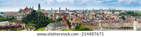 184 Megapixels Panorama of old town city Lublin. Poland. - stock photo