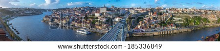 143 Megapixels Panorama of old town Porto, Portugal. Douro river and the Dom Luis Bridge. - stock photo