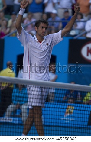 MELBOURNE, AUSTRALIA - JANUARY 26:  Marin Cilic wins against Andy Roddick's (Croatia) quarter finals game during the 2010 Australian Open on January 26, 2010 in Melbourne, Australia - stock photo